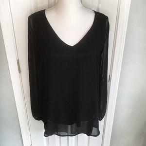 Juicy Couture black long, sheer sleeve top, Medium